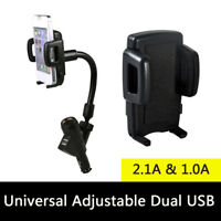 Dual USB Car Charger Cigarette Lighter Mount Holder For Cell Phone Galaxy iPhone