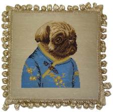 """12"""" x 12"""" Wool Needlepoint Dog Pug Girl in Blue Ancient Chinese Costume Pillow"""