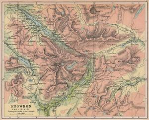 SNOWDONIA Snowdon showing tracks to the Summit Wales BARTHOLOMEW 1882 old map