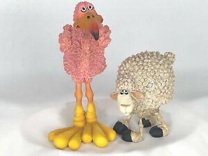 Douglas Bobble Head figurines ~ Flamingo and Sheep