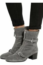 37.5-7 Tabitha Simmons Gray Suede Shearling Lined Shirling Booties Ankle Boots