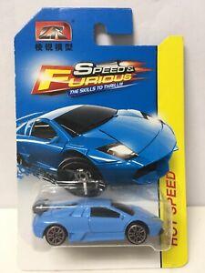 LR Brand Speed & Furious Blue Lamborghini Murcielago 1/64 Scale BAD CARD