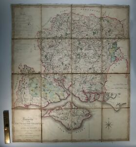 1796 Hampshire or the County of Southampton Isle of Wight Faden Linen Backed MAP