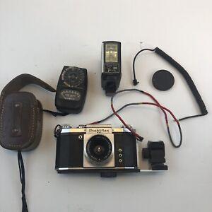 Praktiflex FX 35mm SLR Film Camera w/ 2,8/50 T Carl Zeiss Jena Lens+Flash+Meter
