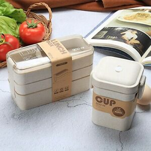 3 Layer Lunch Box with Soup Bento Portable Container Wheat Straw Kids Adult