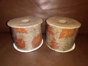 2.5in Burlap  Ribbon with Orange Leaves Design 6 yards long