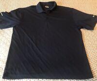 Mens Nike Golf Dri-Fit Argyle Short Sleeve Polo Shirt Navy Blue Size Large