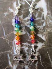 Pretty Tibetan Silver Kabbalah Star of David Chakra Crystals Artisan Earrings