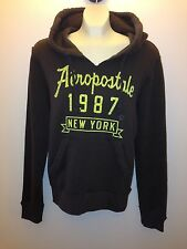 AEROPOSTALE MEN'S BROWN HOODIE SWEATSHIRT AERO LOGO A87 JACKET SWEATER XS $49.50