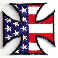 IRON CROSS USA FLAG MOTORCYCLES BIKER Embroidered Iron Patch + Free Shipping