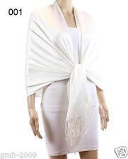 New Fashion Women Solid White 100% Cashmere Wool Pashmina Shawl Scarf Stole Wrap