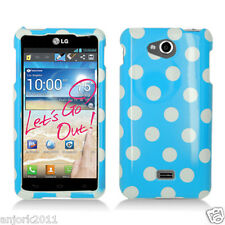LG Spirit 4G MS870 Metro PCS Snap-On Case Cover Accessory Blue White Polka Dots