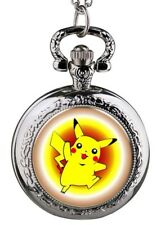 Pendant Pocket Watch Pokemon Pikachu Silvertone