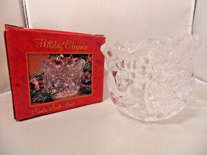 Christmas Santa Sack Bowl Fine Lead Crystal Holiday Elegance Table Decor USA