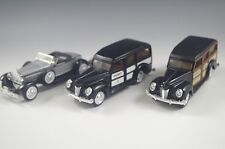 3 ERTL CARS 1940 FORD WOODY - 1930 PACARD BOATTAIL SPEEDSTER NM CONDITION