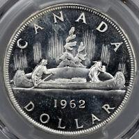 1962 CANADA SILVER DOLLAR PCGS PL66 UNC GEM BU BLAST WHITE CHOICE (DR)