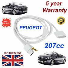 PEUGEOT 207 3GS 4 4S iPhone iPod USB & AUX 3,5 mm Cavo USB IN BIANCO