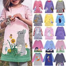Baby Kinder Mädchen Langarm Tunika Kleid Gestreift Freizeit Lang T-shirt Kleider