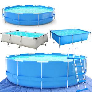 Rund Frame-Pool Schwimmbecken Swimming Pool Schwimmbad Rechteck Aufstellpool