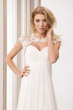 New Womens Wedding Ivory/White Lace Bolero Shrug Bridal Jacket Beads S M L XL
