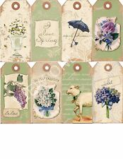 8 Vintage Spring Hang Tags Cards Scrapbooking Paper Crafts (188)
