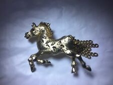 Goldtone diamond-cut Prancing Horse Figural Brooch Pin Tail of Chains