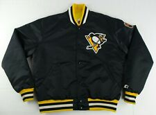 Vintage Starter NHL Pittsburgh Penguins Button Up Satin Jacket Size Mens L