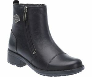 Harley Davidson Ladies Senter Black Leather Zip Boot Biker Boots