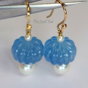 18K Solid Yellow Gold Finest Blue Aquamarine Fluted Melon Bead Akoya Seed Pearl