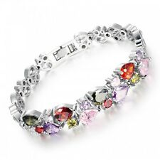 18K WHITE GOLD PLATED & GENUINE MULTI-COLOURED CUBIC ZIRCONIA TENNIS BRACELET