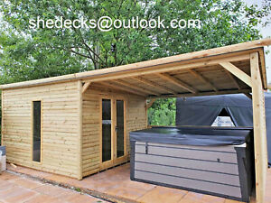 SUMMER HOUSE WITH HOT TUBE SHELTER GAZEBO SHED PENT MAN CAVE HEAVY DUTY T&G