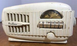 Vintage Streamline Airflow 1947 Wards Airline 84BR-1508 AM Tube Radio Works Ivry