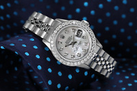 Rolex 26mm Datejust With custom Diamond bezel White MOP Mother Of Pearl Diamond