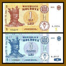 Moldova 1 Leu + 5 Lei (2 Pcs Set), 2009-2015 P-8/9 Unc