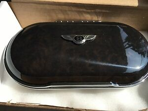 Bentley New Style Genuine OEM Eye Glass Case  Gloss Black/Red Leather