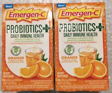 2 Emergen-C Probiotics Plus Daily Immune Health, Orange, 30 Packets Exp 12/20