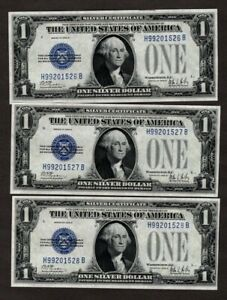 #5 Consecutive 1928 B $1 Silver Certificates, Very Choice Uncirculated, NICE!!