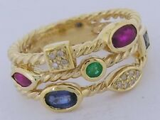 R212 HEAVY 9K Yellow Gold Natural Ruby,Emerald, Sapphire & Diamond Ring size M