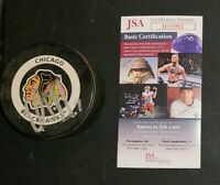 Chris Chelios Signed Chicago Blackhawks Official Game Puck COA JSA
