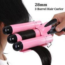28mm 3 Barrel Hair Curler Tool Ceramic Crimper Iron Salon Styler Waves Curling