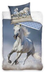 White Grey Horse Pony bed Set Single Bedding set 100% Cotton continental size 2