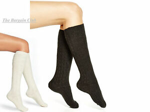 Hue Women's Knee High socks Bootique Tall and Skinny Fisherman Cable socks