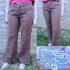 Joules Pascale Flared Trousers 10 Brown Wide Leg Bootcut Retro Festival 60s 70s