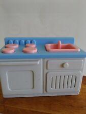 Vintage Little Tikes  Stove Sink Blue Dollhouse Kitchen Furniture