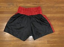 Thai Boxing Shorts Size Medium Black Shorts With Red Accents Lettering on back