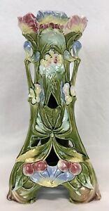 Antique Art Nouveau Ceramic Majolica Flowers Pedestal Stand – For Restoration