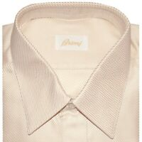 $695 NEW BRIONI ROSEY BEIGE & WHITE THICK TEXTURED TWILL DRESS SHIRT 39 15.5