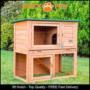 Rabbit Hutch 3ft by Cozy Pet Natural Guinea Pig Hutches Run Ferret Runs RH03N