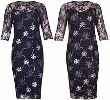 New Ladies 3/4 Three Quarter Sleeves Floral Lace Foil Women's Body-con Dress
