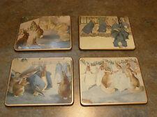 Vintage Lady Clare of England Peter Rabbit Beatrix Potter Coaster Set of 4 EXC.